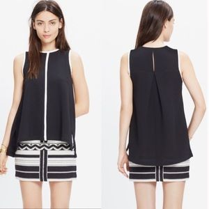 Madewell Crepe Canal Tank Top Black Size Small